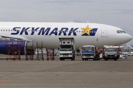 A Skymark Airlines Inc's airplane is parked at Haneda airport in Tokyo