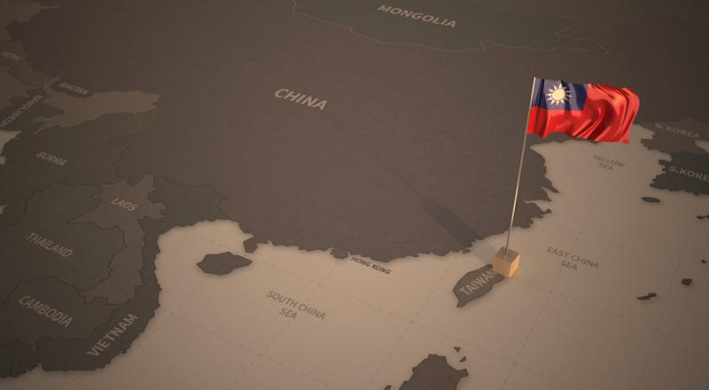 Vintage Map and Flag of northeast asian Countries Series 3D Rendering