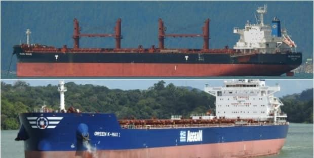 The bulk carriers Golden Cecilie [top] and Green K-Max 1 collided in Plumper Sound located in B.C.'s  Southern Gulf Islands on March 30, 2020.