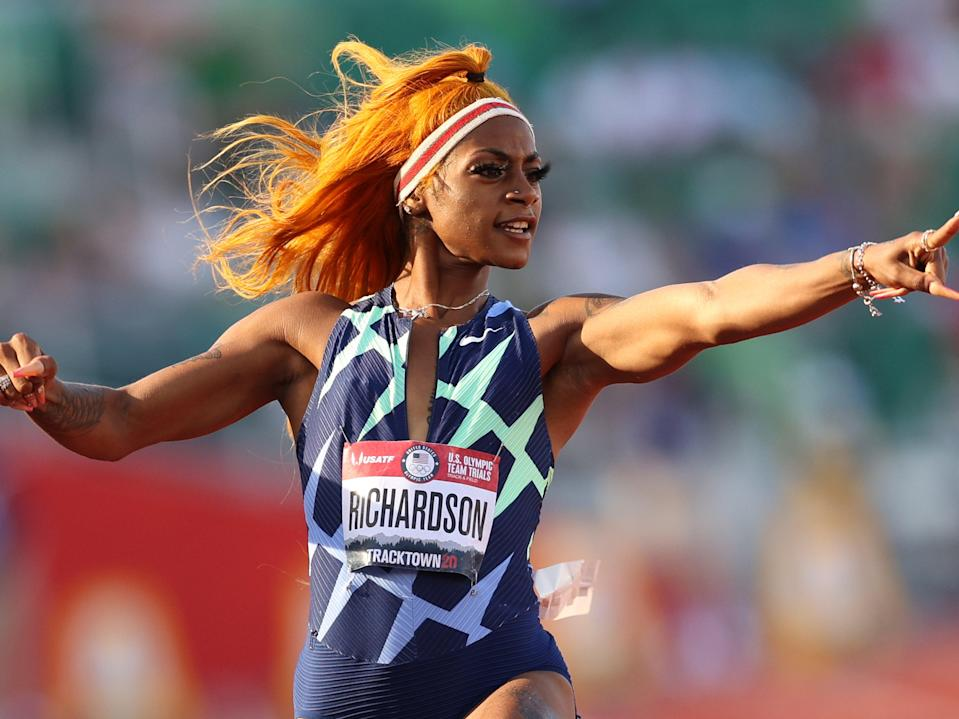 Sha'Carri Richardson at the Women's 100 Meter semifinal on day 2 of the 2020 US Olympic Track & Field Trials (Getty Images)