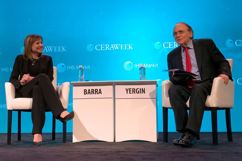 FILE PHOTO: CEO of General Motors Barra, speaks with energy scholar Yergin, at the annual CERAWeek energy conference in Houston