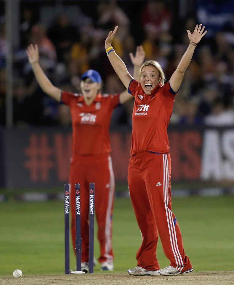 CHELMSFORD, ENGLAND - AUGUST 27: Danielle Hazell of England appeals unsuccessfully for a wicket during the first NatWest T20 match between England and Australia at the Ford County Ground on August 27, 2013 in Chelmsford, England.  (Photo by Harry Engels/Getty Images)