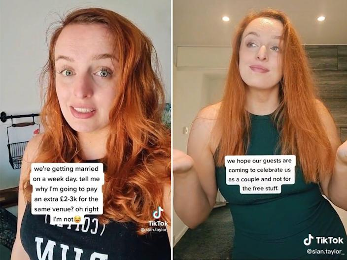 """A side-by-side photo of a redheaded woman in two TikToks. The caption on the left says: """"We're getting married on a weekday. Tell me why I'm going to pay an extra 2,000 to 3,000 pounds for the same venue? Oh right, I'm not."""" The caption on the right says: """"We hope our guests are coming to celebrate us as a couple and not for the free stuff."""""""