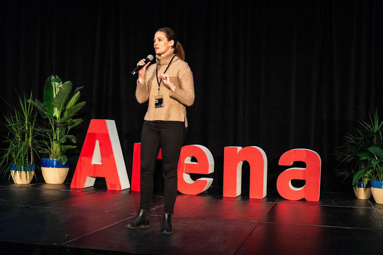 Kate Catherall, an Arena co-founder, speaks in February. (Photo: Lee Pedinoff)