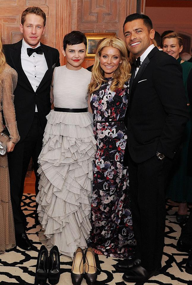 """<p class=""""MsoNormal"""">High heels start hurting after a while, as any woman will tell you. So who can blame Ginnifer Goodwin and Kelly Ripa for kicking off their shoes by the end of the evening? The two were snapped with their main squeezes -- Josh Dallas (L) and Mark Consuelos (R) -- at the Bloomberg & Vanity Fair cocktail reception after the White House Correspondents' Dinner last weekend. Let's hope President Obama didn't walk by while they were barefoot! (4/28/2012)</p>"""