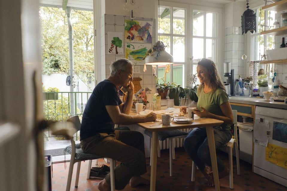 "<p>It's easy to grab your plate and get comfortable on the couch while eating, but you should really make an effort to sit at a table when that's possible. </p><p>""When you are able to sit at a table, you are able to sit up straight with your meal in front of you and be able to better gauge your hunger and fullness levels,"" <a href=""http://www.giselabouvier.com/"" rel=""nofollow noopener"" target=""_blank"" data-ylk=""slk:Gisela Bouvier"" class=""link rapid-noclick-resp"">Gisela Bouvier</a>, MBA, RDN, LDN, MIEP, tells Woman's day. ""In turn, better feeling your hunger and fullness allows you to properly nourish your body, and is a key factor in mindful eating."" </p>"