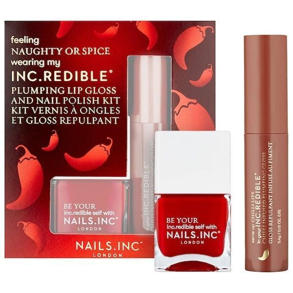 <p>This <span>Nails Inc. Naughty or Spice Lip-Gloss and Nail-Polish Set</span> ($15) makes a better gift than coal for a pal who's been naughty all year.</p>