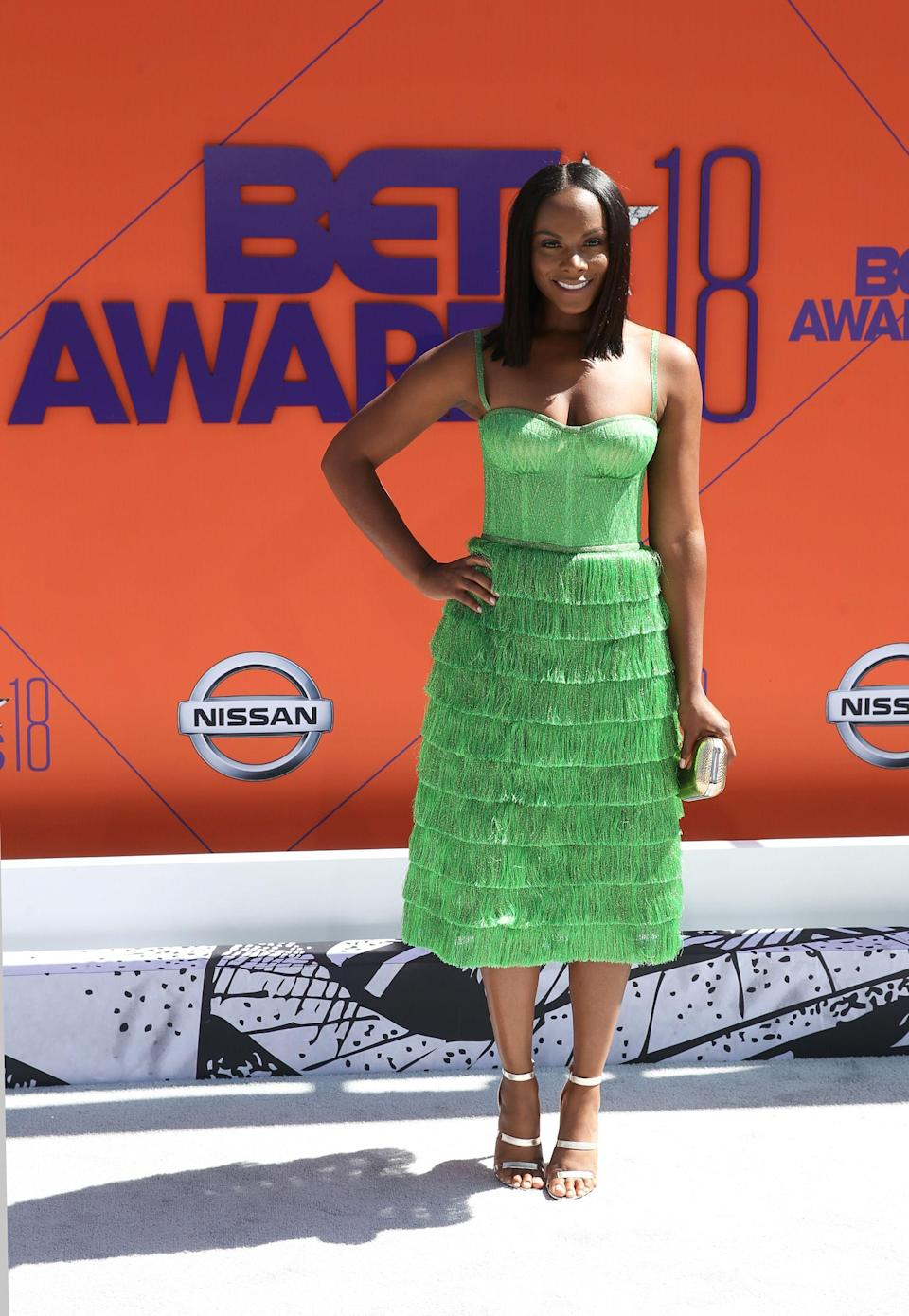 "<p>Tika Sumpter, how do you do it? This Missoni dress is giving hints that lime green might be this season's next ""it"" color.</p><span class=""copyright"">Photo: Bennett Raglin/Getty Images.</span>"