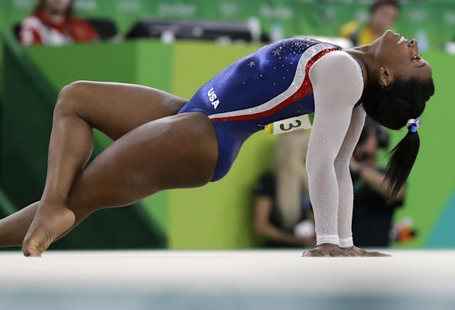 "<a class=""link rapid-noclick-resp"" href=""/olympics/rio-2016/a/1112764/"" data-ylk=""slk:Simone Biles"">Simone Biles</a> would be 23 if she competes at Tokyo 2020. (AP Photo)"