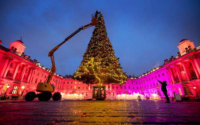 Somerset house re-opening with spectacular 40ft christmas tree ahead of the site's public re-opening yesterday - Geoff Pugh