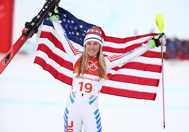 <p>Silver medalist, Mikaela Shiffrin of the United States celebrates on the podium during the Ladies' Alpine Combined on day thirteen of the PyeongChang 2018 Winter Olympic Games at Yongpyong Alpine Centre on February 22, 2018 in Pyeongchang-gun, South Korea. (Photo by Dan Istitene/Getty Images) </p>