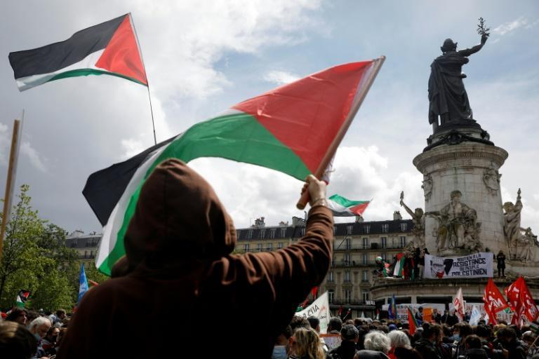 """In Paris protesters waved Palestinian flags and shouted slogans such as """"Palestinians will live"""""""