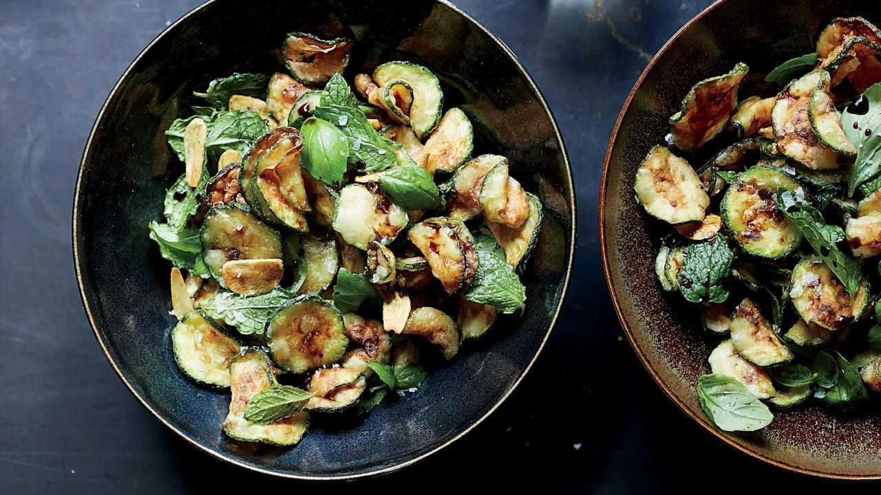 """<p>These crispy fried zucchini chips are ridiculously good, especially alongside a glass of wine or a cocktail.</p><p><a href=""""https://www.foodandwine.com/recipes/fried-zucchini-chips"""">GO TO RECIPE</a></p>"""