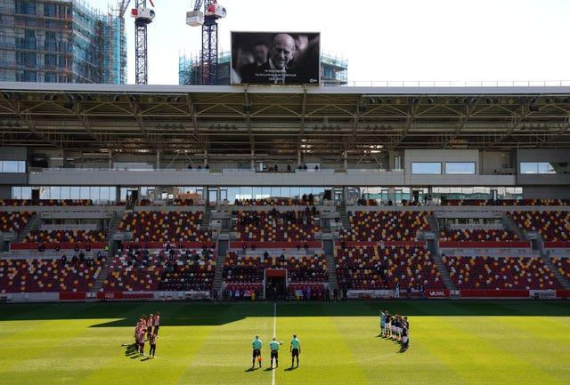 Brentford and Millwall players also stood in memory of the Duke of Edinburgh