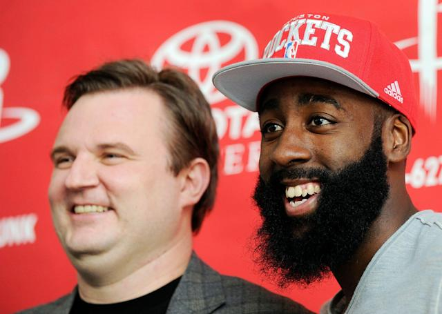 As demonstrated by Daryl Morey and James Harden, baseball isn't the only sport obsessed with analytics. (AP)