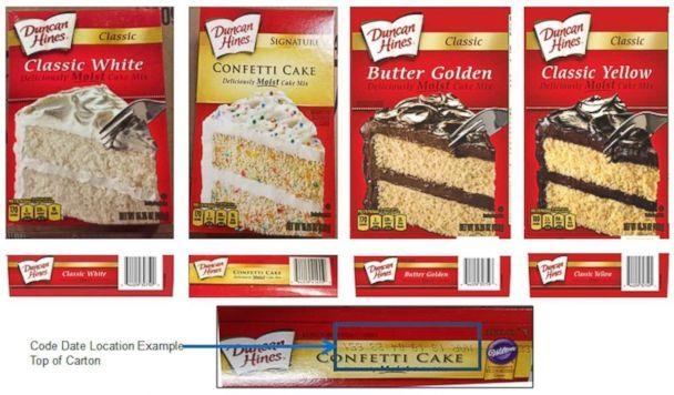 PHOTO: Several Duncan Hines cake mixes have been recalled in connection with a salmonella outbreak that is currently being investigated by CDC and FDA. (FDA)