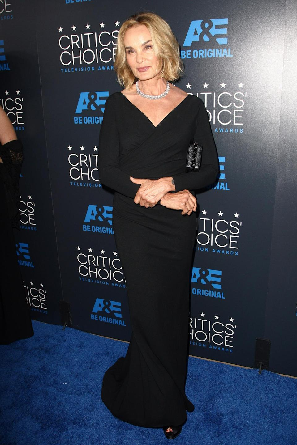 "Jessica Lange must've been inspired by her ""American Horror Story"" characters and went for a dark look in a long-sleeved black dress."