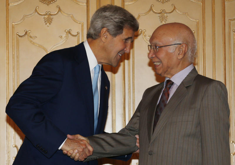 U.S. Secretary of State John Kerry, left, meets with Sartaj Aziz, Pakistan's special adviser on national security and foreign affairs, in Islamabad, Pakistan, Thursday, Aug. 1, 2013. The Obama administration hasn't sent its top diplomat to Pakistan since 2011, and Kerry's trip is a chance for the former senator to get to know the newly elected prime minister, Nawaz Sharif, who came to power in Pakistan's first transition between civilian governments. (AP Photo/Jason Reed, Pool)