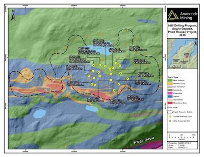 Exhibit A. A map of the Argyle deposit showing the location of recent drill collars and highlighted composited assays. (CNW Group/Anaconda Mining Inc.)