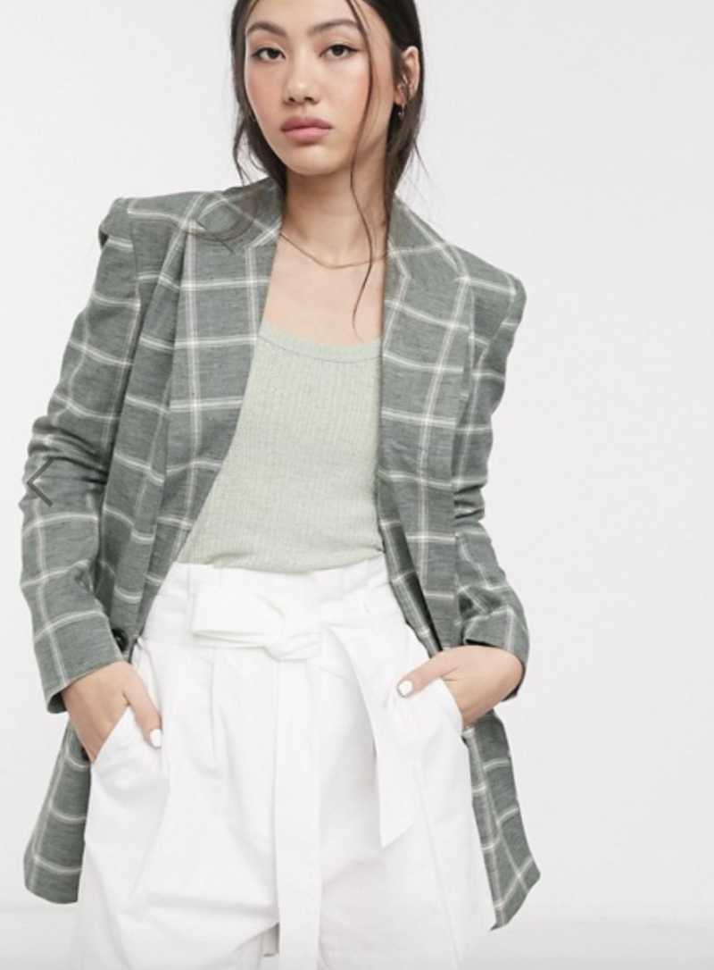 ASOS linen dad blazer in check, S$62.34 (was S$101.90). PHOTO: ASOS