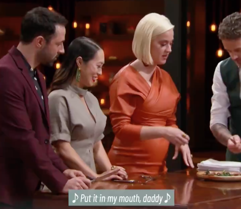 Katy Perry in the MasterChef kitchen