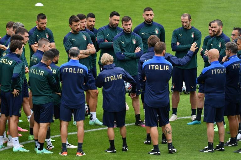 Italy players at training in London on Monday ahead of their Euro 2020 semi-final against Spain