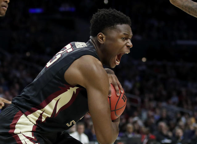 Florida State forward Mfiondu Kabengele grabs a rebound during the second half of the team's NCAA men's college basketball tournament regional semifinal against Gonzaga on Thursday, March 22, 2018, in Los Angeles. (AP Photo/Jae Hong)