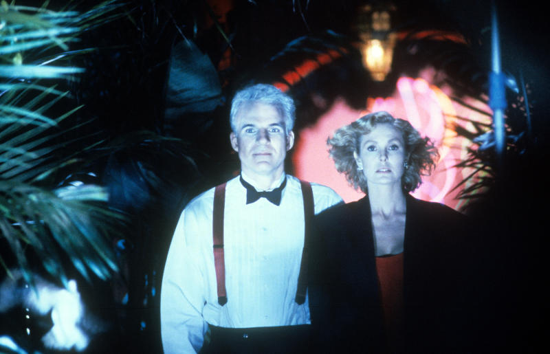 Steve Martin and Victoria Tennant in a scene from the film 'L.A. Story', 1991. (Photo by TriStar/Getty Images)