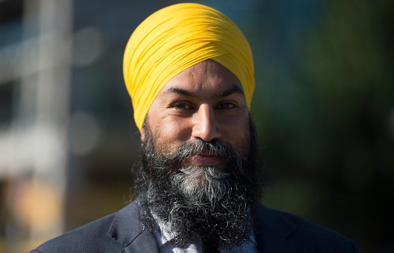 NDP Leader Jagmeet Singh addresses the media in Vancouver on Aug. 18, 2020 following the resignation of the federal finance minister. (Photo: CP/Jonathan Hayward )