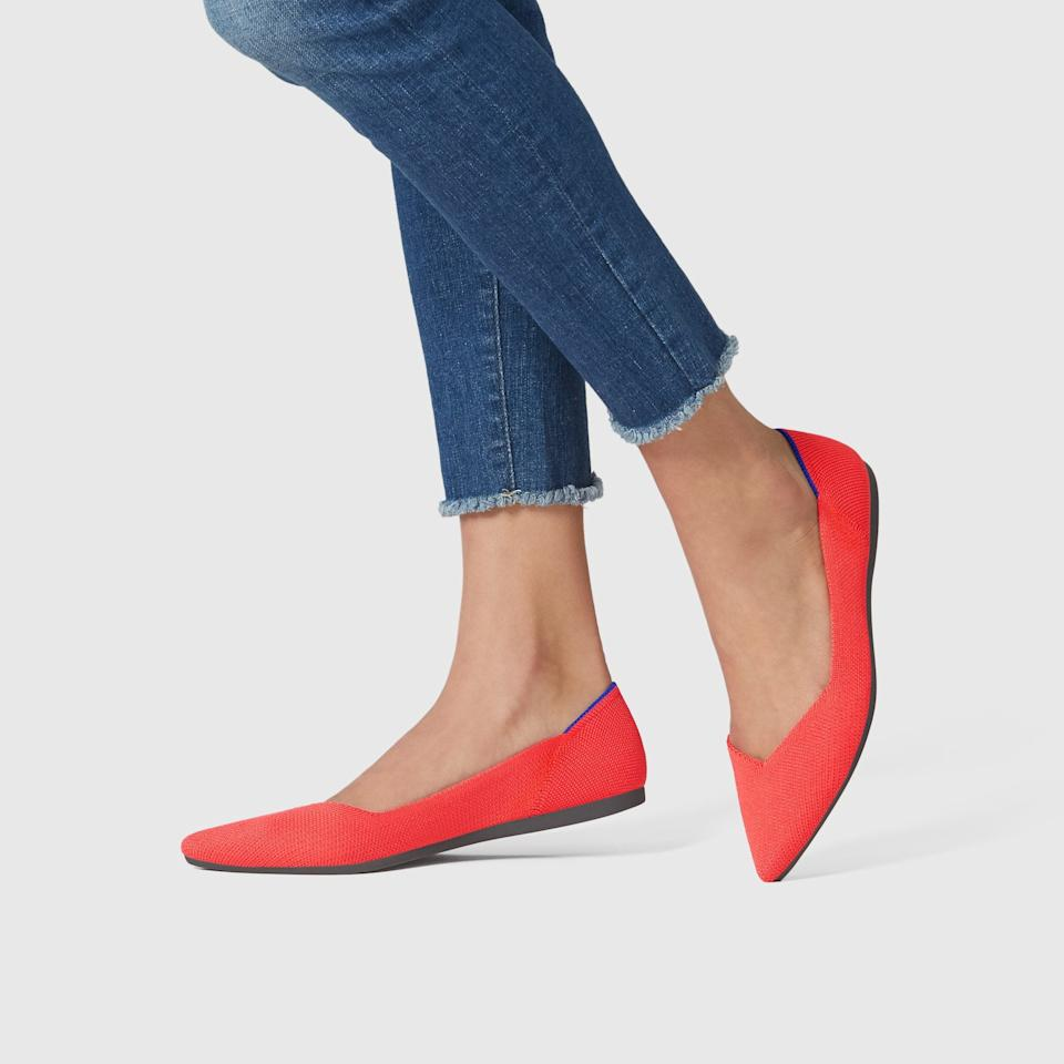 """<h3><a href=""""https://rothys.com/products/the-point-flame"""" rel=""""nofollow noopener"""" target=""""_blank"""" data-ylk=""""slk:Rothy's The Point Flame"""" class=""""link rapid-noclick-resp"""">Rothy's The Point Flame</a></h3><br>""""I love my <a href=""""https://rothys.com/"""" rel=""""nofollow noopener"""" target=""""_blank"""" data-ylk=""""slk:Rothy flats"""" class=""""link rapid-noclick-resp"""">Rothy flats</a> — they're super comfy and they slip on and off easily for security or for going to and from the bathroom on the plane (but keep a pair of socks in your bag!)""""<em> – Paige, travels every 4-6 weeks</em>""""<br><br><strong>Rothy's</strong> Flame Flats, $, available at <a href=""""https://rothys.com/products/the-point-flame"""" rel=""""nofollow noopener"""" target=""""_blank"""" data-ylk=""""slk:Rothy's"""" class=""""link rapid-noclick-resp"""">Rothy's</a>"""