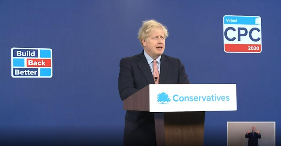 Prime Minister Boris Johnson delivers his address to the virtual Conservative Party Conference, where he announced a ??160 million boost for 'clean energy' initiative. (Photo by PA Video/PA Images via Getty Images)