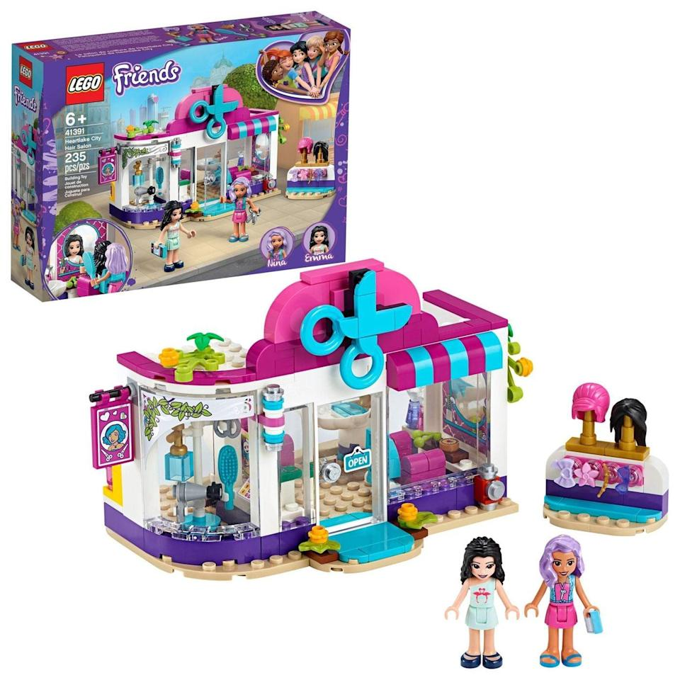 <p>The <span>Lego Friends Heartlake City Hair Salon</span> ($20) has 235 pieces and is best suited for kids ages 6 and up.</p>