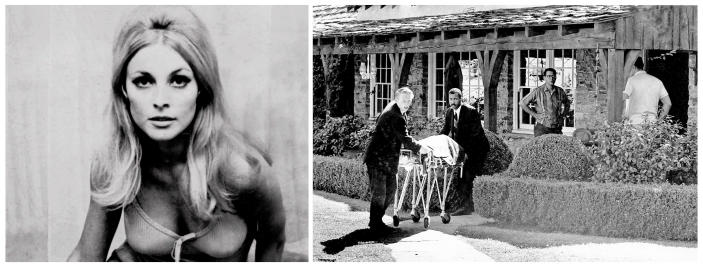 """FILE - This combination of file photos shows actress Sharon Tate, left, and at right, her body being taken from her rented house in the Bel-Air area of Los Angeles on Aug. 9, 1969. Tate, a model and rising film star after her breakout role in the 1966 film, """"Valley of the Dolls,"""" was eight months pregnant when she and four others were found murdered by cult-leader Charles Manson and his followers. Fifty years ago, Manson dispatched a group of disaffected young followers on a two-night killing rampage that terrorized Los Angeles and, in the years since, has come to represent the face of evil. (AP Photo/Files)"""