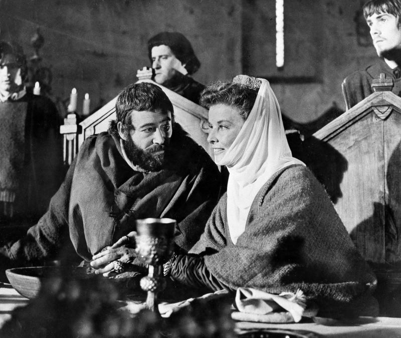 """FILE-  This file image shows American actress Katharine Hepburn, right, as she plays the part of Queen Eleanor of Aquitaine with co-star Peter O'Toole as King Henry II of England, in the film """"The Lion In Winter,"""" as it is filmed in southern France, Sept. 1968.  (AP Photo/File)"""