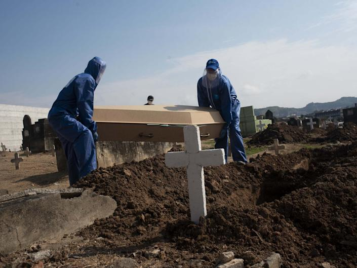 A victim of covid19 is buried in the cemetery of Inhauma, north of Rio de Janeiro: Anadolu Agency via Getty Images