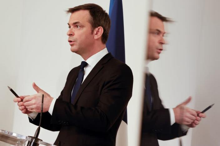 FILE PHOTO: French Health Minister Olivier Veran speaks during a news conference in Paris