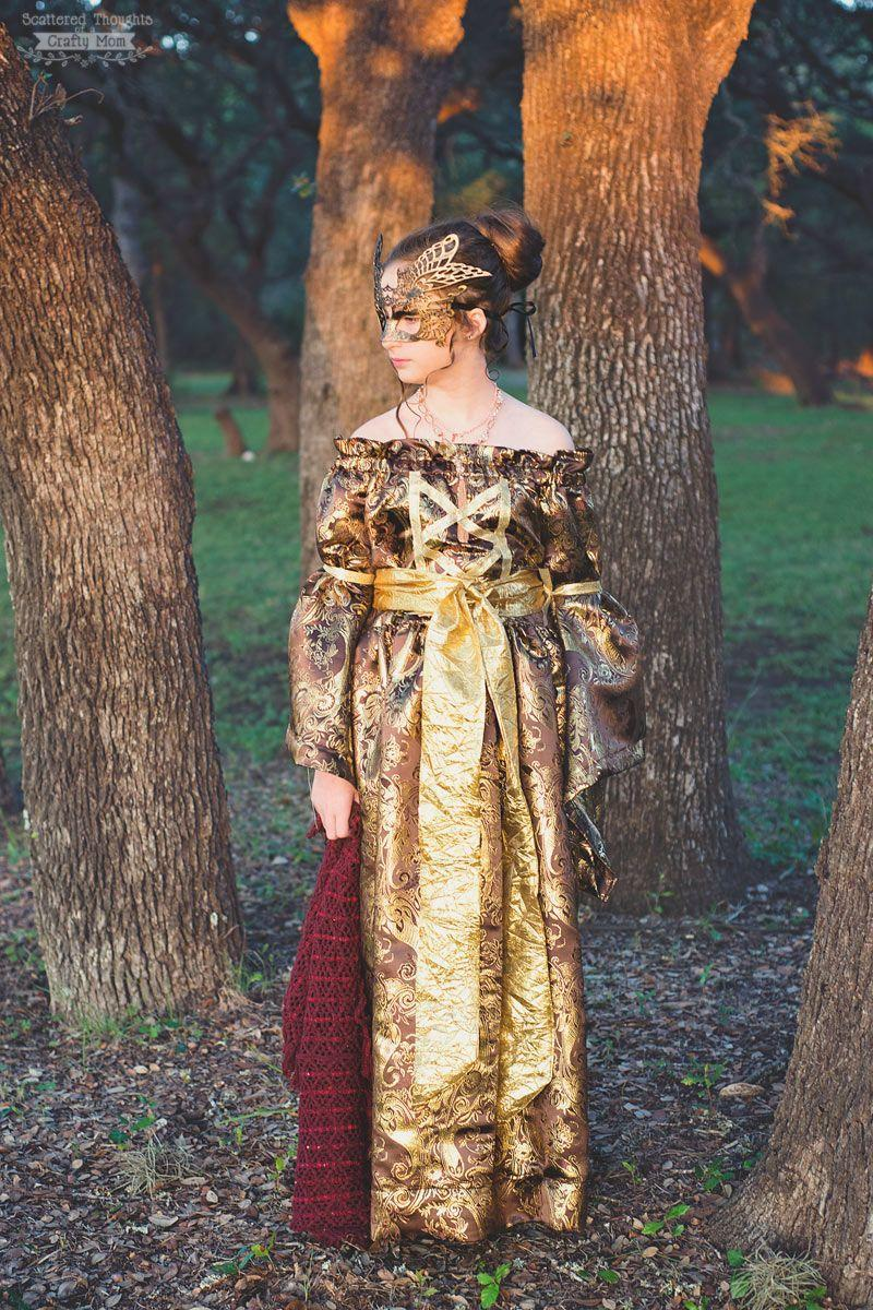 """<p>Show off your sewing skills with this gorgeous gilded getup.</p><p><strong>Get the tutorial at <a href=""""https://www.scatteredthoughtsofacraftymom.com/medievil-princess-costume-renaissance-dress/"""" rel=""""nofollow noopener"""" target=""""_blank"""" data-ylk=""""slk:Scattered Thoughts of a Crafty Mom"""" class=""""link rapid-noclick-resp"""">Scattered Thoughts of a Crafty Mom</a>.</strong></p><p><strong><a class=""""link rapid-noclick-resp"""" href=""""https://www.amazon.com/Masquerade-Rhinestone-Venetian-Evening-Butterfly/dp/B079MB8GV4?tag=syn-yahoo-20&ascsubtag=%5Bartid%7C10050.g.22985658%5Bsrc%7Cyahoo-us"""" rel=""""nofollow noopener"""" target=""""_blank"""" data-ylk=""""slk:SHOP MASKS"""">SHOP MASKS</a><br></strong></p>"""