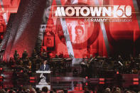 """FILE - In this Feb. 12, 2019 file photo, Berry Gordy speaks onstage during Motown 60: A GRAMMY Celebration at the Microsoft Theater in Los Angeles. The Kennedy Center Honors is returning in December with a class that includes Motown Records creator Berry Gordy, """"Saturday Night Live"""" mastermind Lorne Michaels and actress-singer Bette Midler. Organizers expect to operate at full capacity, after last year's Honors ceremony was delayed for months and later conducted under intense COVID-19 restrictions. (Photo by Richard Shotwell/Invision/AP, File)"""