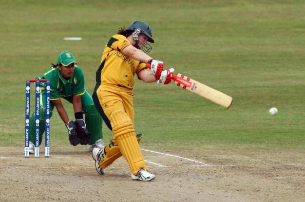 TAUNTON, ENGLAND - JUNE 16: Karen Rolton of Australia hits out   during the ICC Women's Twenty20 World Cup match between Australia and South Africa at The County Ground on June 16, 2009 in Taunton , England.  (Photo by Richard Heathcote/Getty Images)