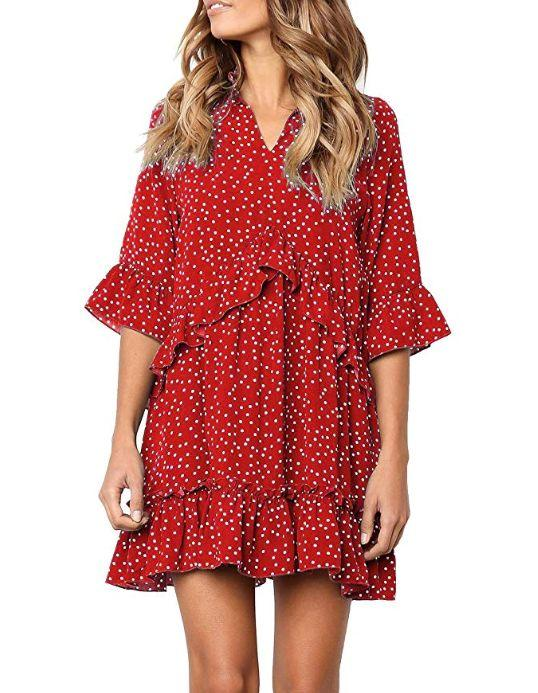 """This ruffled, polka dot swing dress comes in sizes S to XL in five bold colors. <strong><a href=""""https://amzn.to/2lzbTS4"""" target=""""_blank"""" rel=""""noopener noreferrer"""">Normally $25, get it on sale for $21 on Prime Day</a>.</strong>"""