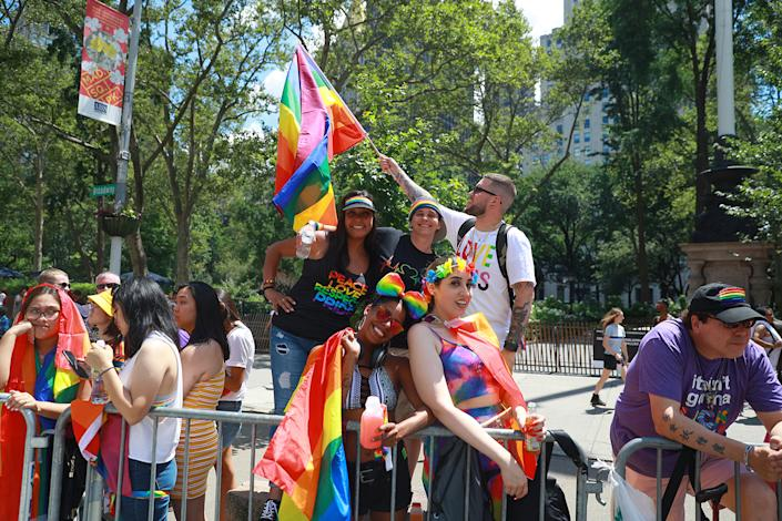 People wait for the start of the NYC Pride Parade in New York, Sunday, June 30, 2019. (Gordon Donovan/Yahoo News)