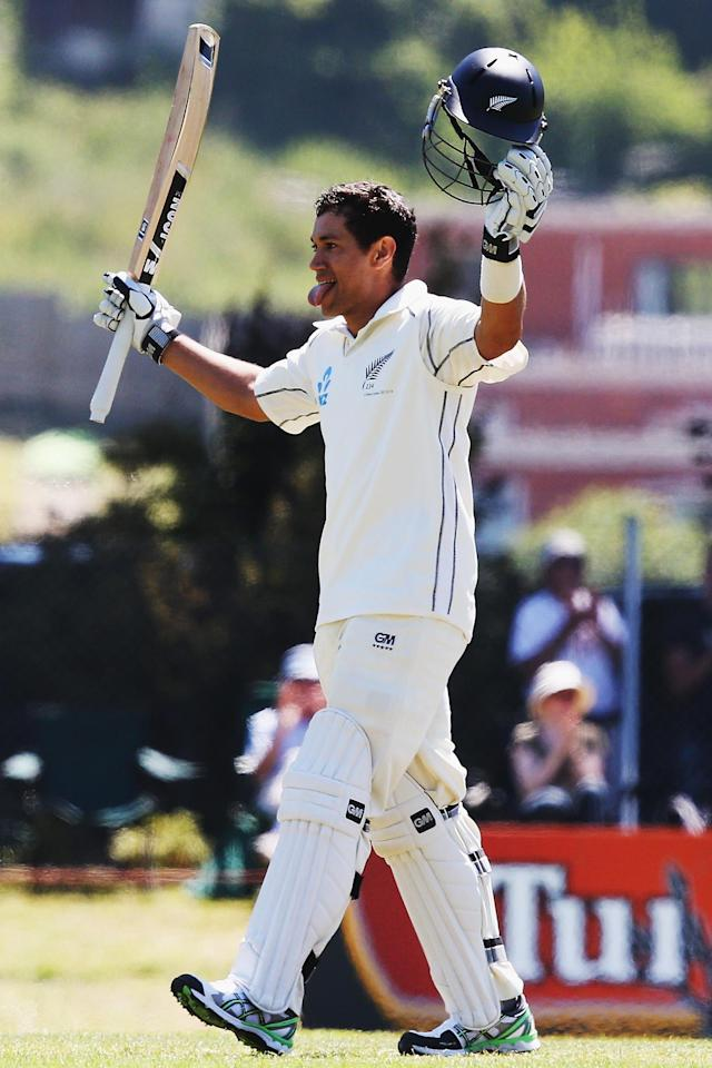 DUNEDIN, NEW ZEALAND - DECEMBER 04: Ross Taylor of New Zealand celebrates his double hundred during day two of the first test match between New Zealand and the West Indies at University Oval on December 4, 2013 in Dunedin, New Zealand. (Photo by Hannah Johnston/Getty Images)