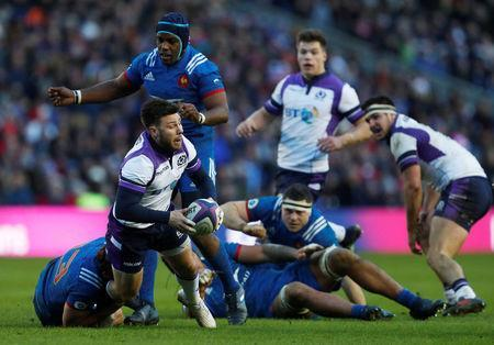 Rugby Union - Six Nations Championship - Scotland vs France - BT Murrayfield, Edinburgh, Britain - February 11, 2018 Scotland's Ali Price in action with France's Remi Lamerat REUTERS/Russell Cheyne