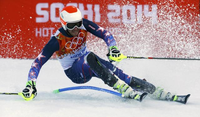 Bode Miller of the U.S. skis during the slalom run of the men's alpine skiing super combined event at the 2014 Sochi Winter Olympics at the Rosa Khutor Alpine Center February 14, 2014. REUTERS/Ruben Sprich (RUSSIA - Tags: SPORT SKIING OLYMPICS)