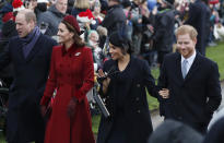 """FILE - In this Tuesday, Dec. 25, 2018 file photo, Britain's Prince William, left, Kate, Duchess of Cambridge, second left, Meghan Duchess of Sussex and Prince Harry, right, arrive to attend the Christmas day service at St Mary Magdalene Church in Sandringham in Norfolk, England. Britain and its royal family are absorbing the tremors from a sensational television interview with Prince Harry and Meghan. The couple said they encountered racist attitudes and a lack of support that drove Meghan to thoughts of suicide. The couple gave a deeply unflattering depiction of life inside the royal household, depicting a cold, uncaring institution that they had to flee to save their lives. Meghan told Oprah Winfrey that at one point """"I just didn't want to be alive anymore."""" Meghan, who is biracial, said that when she was pregnant with son Archie, there were """"concerns and conversations about how dark his skin might be when he's born."""" (AP PhotoFrank Augstein, File)"""