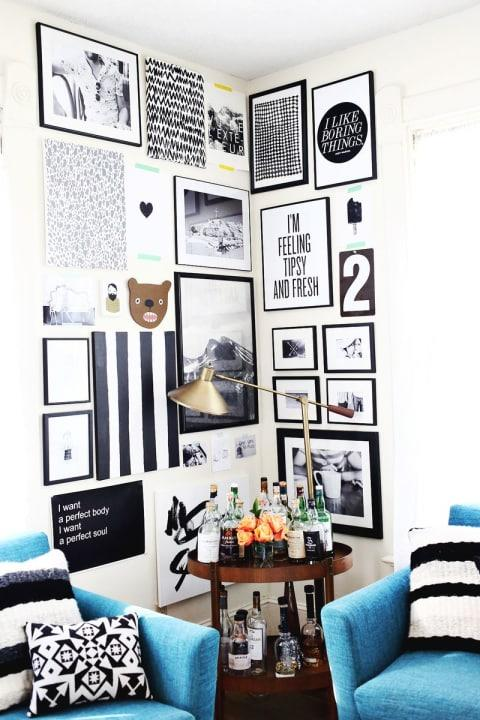 Choose frames and prints of various sizes for the coolest look.