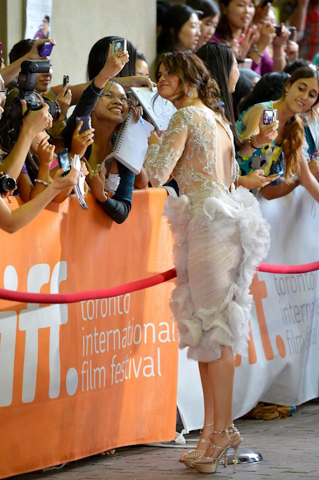 """TORONTO, ON - SEPTEMBER 07:  Actress Selena Gomez attends the""""Spring Breakers"""" premiere during the 2012 Toronto International Film Festival at Ryerson Theatre on September 7, 2012 in Toronto, Canada.  (Photo by Alberto E. Rodriguez/Getty Images)"""