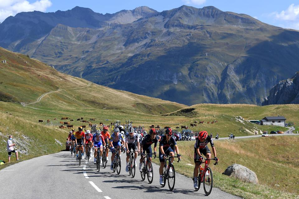 LA ROCHESURFORON FRANCE  SEPTEMBER 17 Thomas De Gendt of Belgium and Team Lotto Soudal  Michal Kwiatkowski of Poland and Team INEOS Grenadiers  Richard Carapaz of Ecuador and Team INEOS Grenadiers  Marc Hirschi of Switzerland and Team Sunweb  Bob Jungels of Luxembourg and Team Deceuninck  QuickStep  Breakaway  during the 107th Tour de France 2020 Stage 18 a 175km stage from Mribel to La Roche sur Foron 543m  TDF2020  LeTour  on September 17 2020 in La RochesurForon France Photo by Tim de WaeleGetty Images