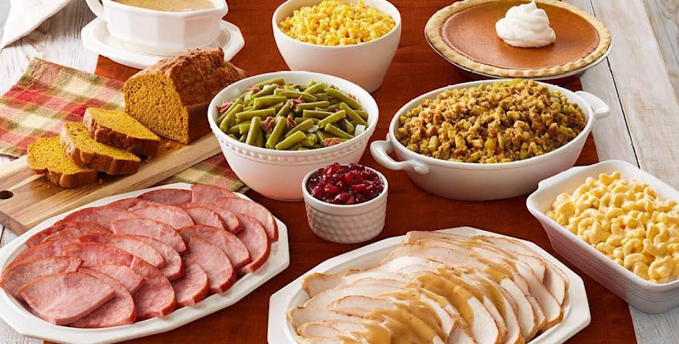 <p>Bob Evans is open for breakfast, lunch and dinner every Thanksgiving from 8 a.m. to 7 p.m. Special turkey day offerings include a platter for one featuring slow-roasted turkey or ham, three farm-fresh sides, bread and a slice of pie for $14.99. Upgrade to a premium option with turkey <em>and </em>ham for $16.99. Both are available for dine-in or carryout.</p> <p>Guests interested in a bulk carryout meal can order the three-course Turkey and Dressing Family Meal served hot for up to six people with slow-roasted turkey and dressed, chicken gravy, cranberry relish, two sides and dinner rolls. Pricing for this starts at $32.94. For bigger crowds, go for the Farmhouse Feast, which serves eight to 10 people and includes slow-roasted turkey, bread and celery dressing, mashed potatoes with gravy, green beans with ham, mac and cheese, cranberry relish, rolls and pumpkin pie starting at $54.99. Ordering begins Oct. 8. Pick up in advance via curbside takeout, heat, serve and enjoy.</p>
