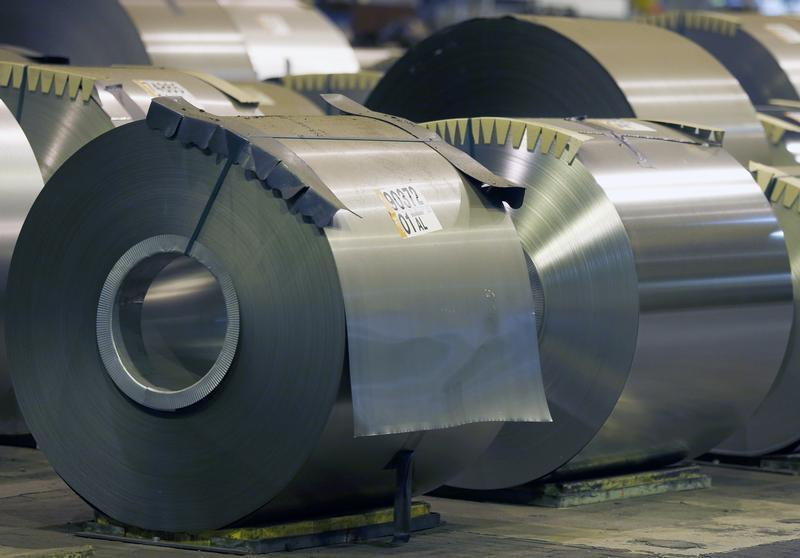 Coils of steel are seen at the ArcelorMittal Factory in Florange